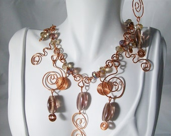 Copper Maiden Necklace & Earrings Set