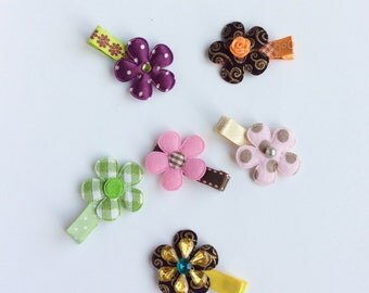 GRAB BAG 6 Baby girl hair clip grab bag baby hair clips toddler hair clips hairclip, infant, newborn partially ribbon lined, little gir