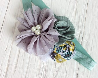 Sage green gray headband girls headband baby girl headbands matilda jane headband persnickety headband m2m newborn