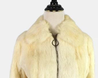 70s 80s Short Bomber Style Cream Rabbit Coat Jacket