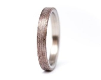 Women's titanium and bentwood ring. Unique and natural wooden engagement ring. Very resistant and hypoallergenic (00500_3N)