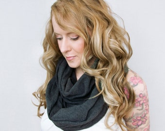 Gray Infinity Scarf, Circle Scaves Dark Charcoal Grey Scarf, Jersey Scarf Winter Scarf, Circle Scarf Mom Wife Gift Womens Scarf Gift for Her