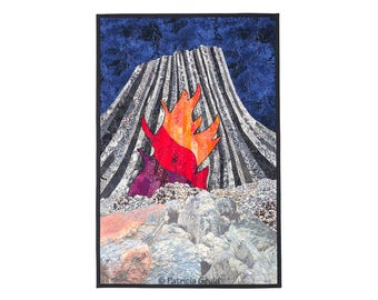 Fire Erupted From the Center of the Earth - mixed media landscape