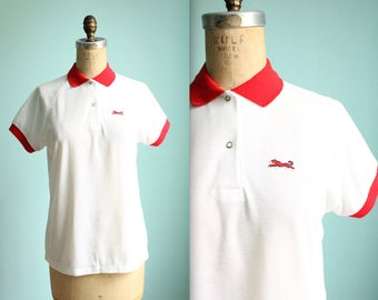 vintage Le Tigre white and red polo shirt / womens size medium to large