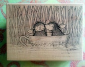 Retired Stampa Rosa House Mouse 207 Love in a Teacup Boat 1997 Rubber Stamp Wood