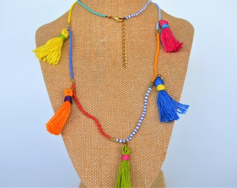 Long Tassel and Seed Bead Necklace,  Lightweight, Fun and Casual, Available in other Colors, Gift Boxed