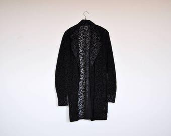 Vintage Black See Through Open Front Ornamental Sheer Shirt Jacket Floral Pattern Long Cardigan Top