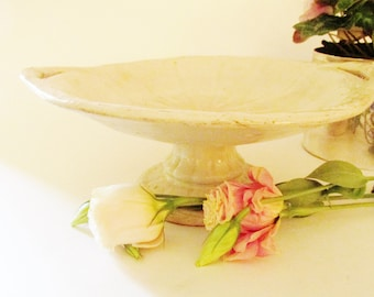 Edward Pearson Ironstone Wheat Compote, Victorian, Farmhouse Chic, Antique White Ironstone Fruit Bowl