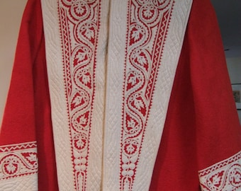Vintage Red and cream Wool felt jacket with ornate cutwork panels and detailed stitchery
