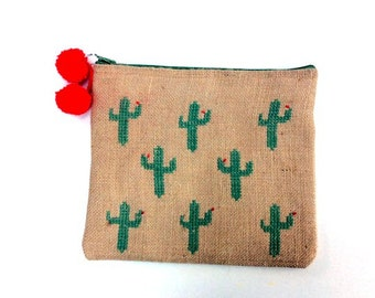 Cacti in bloom  burlap pouch bag, cross stitch embroidery ,accessories pouch, handmade pouch, travel accessory