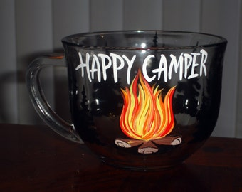 1 Hand painted Happy Camper coffee mug
