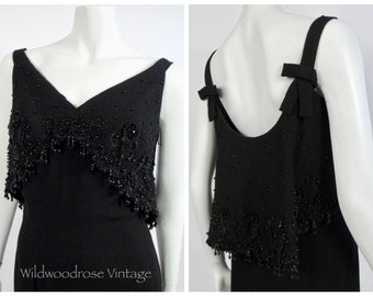 1960's Couture Beaded Black Crepe Evening Gown - Vintage Eaton's of Canada Custom Order - Hand Beaded Black Jet Bust and Drape Back - Sz 4