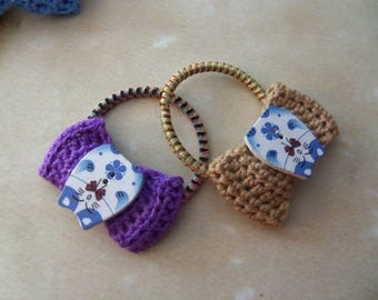 Set of Two Crochet Bow Tie Hair Elastics. Handmade Bow Tie Hair Elastics.