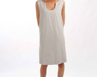 A-line Sleeveless Dress with in Seam Pockets - Lined - Light Grey with Silver Specs