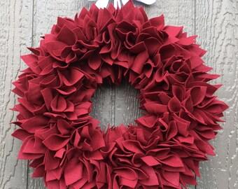 Valentine's Day Wreath - Felt Wreath - Rag Wreath - Large Wreath - Red Wreath - Winter Wreath - Ruby Wreath - Brick Red Wreath