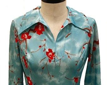 Vintage c.1970 / Debbie Brooks /Cherry Blossom Dress / SIZE 4/6