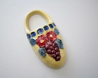 Vintage Ceramic Wall Pocket Vase - Flower Basket Wall Pocket Hanging - Yellow Ceramic Basket Vase Made in Japan