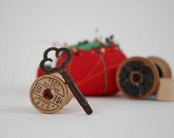 Antique Treadle Sewing Machine Key - Old Metal Skeleton Key - Dark Metal Patina Key