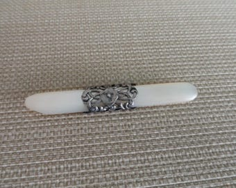 Vintage Mother of Pearl and Sterling Cuticle  Tool  C958