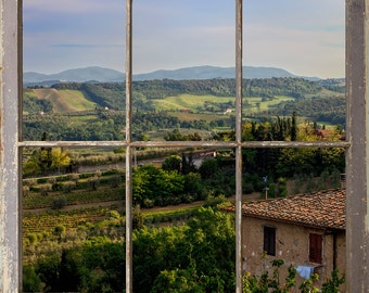 Tuscan Hillside Vinyards Through a Window