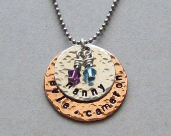 """Nanny mom grandma custom family pendant necklace of aluminum and copper with Swarovski """"birth month"""" crystals on your choice of chains."""
