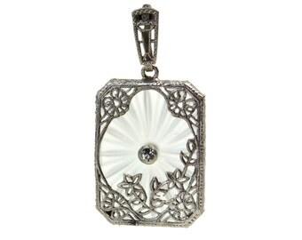 Art Deco Camphor Glass Necklace Pendant // 1920's Floral Filigree Crystal Rhinestone // Art Nouveau Wedding Jewelry