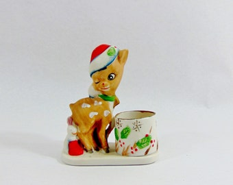 1970s, Christmas, Christmas Decoration, Vintage Christmas, Christmas Vintage, Reindeer, Reindeer Decoration, Candle Holders, Holiday Decor