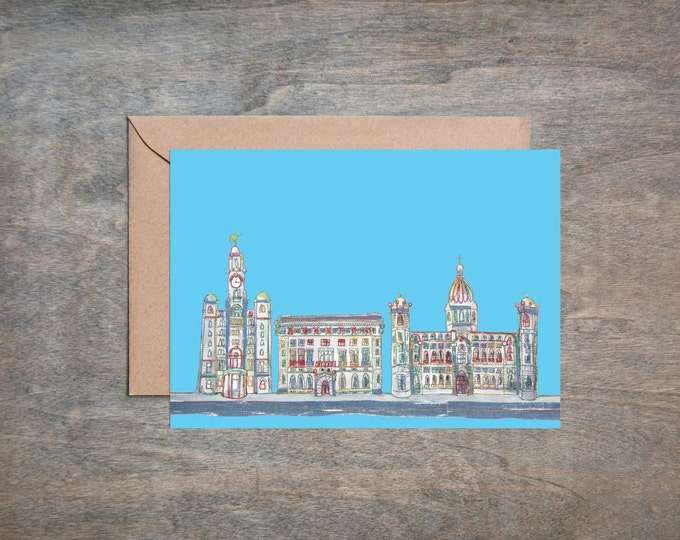 3 Graces, Liverpool - Waterfront - Liverpool - 3 Graces Liverpool - - Greetings Card - Blank Card