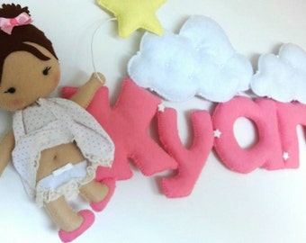Cute babygirl with balloon sign / name banner / wall decor/ nursery / babyroom / girls /