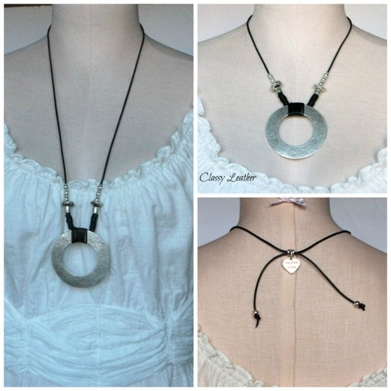Women fashion necklace, leather and silver necklace ,circle of life  leather necklace ,two in one necklace, gift for her