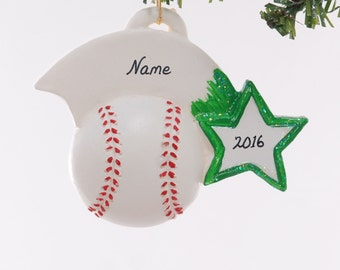 Personalized baseball Christmas ornament with green team color star - personalized with name, team name, number and or year (123)