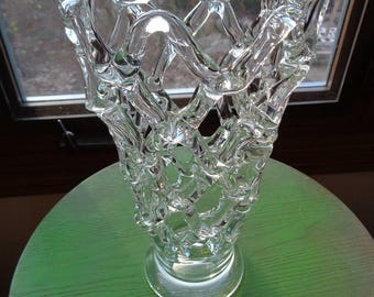 Retro Hand Made Clear Glass Vase, A Unique, Unusual and One-of-A-Kind Glass Sculpture made with ribbons of molten glass shaped into a Vessel