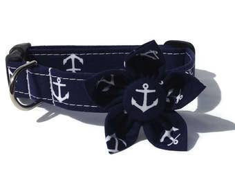 Dog Collar and Flower Set in Navy and White Anchorsfor Small to Large Dogs