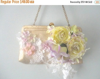 ON SALE Vintage Wedding Purse, Gold Pocketbook, Flower Purse, Wedding Clutch, Upcycled Handbag, Little Gold Purse, Romantic Bride, Bohemian