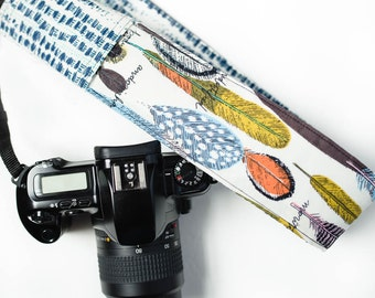 camera strap cover: royal feathers