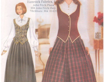 1998 - Butterick 5832 Sewing Pattern Sizes 14/16/18 Classics Easy Vest Blouse Skirt Easy Fitted Princess Seams Gathered Button Down Uncut