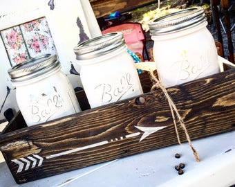 Rustic Arrow Planter Box, Mason Jar Bath Set, Mason Jar Decor, herb planter, Jar Bathroom Set, Rustic Decor, Gift set, Modern Bath decor