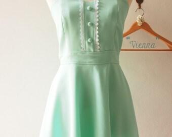 Summer Dress Mint Green Dresses Fit and Flare La La Land Style Mint Green Vintage Sundress Graduation Dress Mint Green Bridesmaid Dress