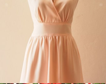 Christmas SALE Pale Peach Midi Prom Dress Bridesmaid Dress Peach Dress Elegant Party Dress with Pockets Plus Size - XS-XL,custom