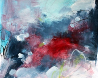 "Mixed Media Abstract Art, Original Intuitive Painting, Works on Paper ""In For Some Stormy Weather"" 12x12"""