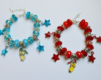 READY TO SHIP, Plusle & Minun Bracelet Set