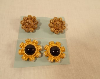 Lot of Two Pairs of Vintage Chanel Style Clip Earrings