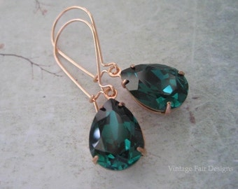 Emerald Green Modern styled Crystal Rose Gold Long Dangle Earrings - created with crystals from Swarovski®
