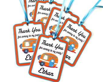 Set of 12 Thank You Party Favor Tags, Campers Personalized Happy Birthday Party Favors Tags Thank You Gift Tags, Party Supplies
