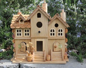 Triple Townhouse birdhouse, wine cork art