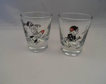 "Cool Shot Glass set of 2 ""Little Shot"" baby w/bow & arrow - ""Half Shot"" Baby on rocket ship spaceship/1950s-1960s shot glasses - bar jigger"