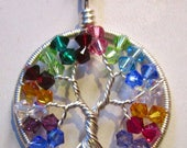 Mother's Day Custom Birthstone Tree of Life, Swarovski Crystal Birthstone Tree of Life, Family Birthstone Necklace