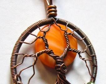 Wire Wrapped Tree of Life, Big Bright Orange Moon Tree of Life, Antiqued Copper Moon Tree and Copper Owl, Moon Jewelry, Orange Moon Necklace