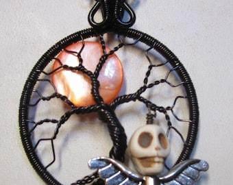 October  Moon, Harvest Moon Tree Life, Iridescent Orange Moon and Flying Skull Tree of Life Pendant