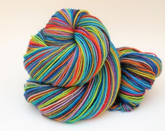 Ready To Ship: Self Striping Fingering Weight Sock Yarn, Sparkle Sock, Wool and Nylon, 20 Color Stripe, Hand Dyed, Shalom
